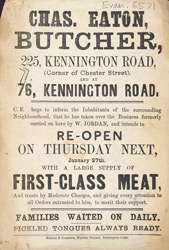Advert For Chas. Easton, Butcher